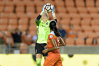 Houston, TX - Saturday July 15, 2017: Jane Campbell grabs a shot on goal during a regular season National Women's Soccer League (NWSL) match between the Houston Dash and the Washington Spirit at BBVA Compass Stadium.