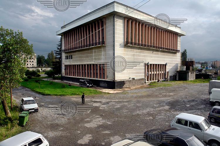 The exterior of a sports complex in Batumi...