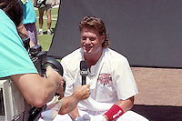 Philadelphia Phillies catcher Darren Daulton gives an interview for CBS during the Major League Baseball All-Star Game break at Jack Murphy Stadium  in San Diego, California.  (MJA/Four Seam Images)