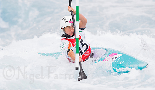 02 AUG 2012 - CHESHUNT, GBR - Hannah Craig (IRL) of Ireland makes her semi final run during the women's Kayak Single (K1) during the London 2012 Olympic Games event at Lee Valley White Water Centre, Cheshunt, Great Britain (PHOTO (C) 2012 NIGEL FARROW)