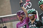 Maglia Ciclamino German Champion Pascal Ackermann (GER) Bora-Hansgrohe at sign on before Stage 11 of the 2019 Giro d'Italia, running 221km from Carpi to Novi Ligure, Italy. 22nd May 2019<br /> Picture: Fabio Ferrari/LaPresse | Cyclefile<br /> <br /> All photos usage must carry mandatory copyright credit (© Cyclefile | Fabio Ferrari/LaPresse)