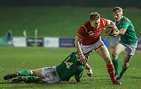 Wales U20's Phil Jones is tackled by Ireland U20's Tommy O'Brien<br /> <br /> Photographer Alex Dodd/CameraSport<br /> <br /> RBS Six Nations U20 Championship Round 4 - Wales U20s v Ireland U20s - Saturday 11th March 2017 - Parc Eirias, Colwyn Bay, North Wales<br /> <br /> World Copyright &copy; 2017 CameraSport. All rights reserved. 43 Linden Ave. Countesthorpe. Leicester. England. LE8 5PG - Tel: +44 (0) 116 277 4147 - admin@camerasport.com - www.camerasport.com