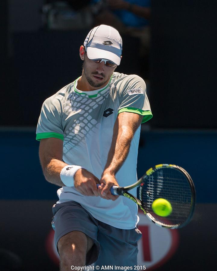 Viktor Troicki (SRB)<br /> <br /> Tennis - Australian Open 2015 - Grand Slam -  Melbourne Park - Melbourne - Victoria - Australia  - 23 January 2015. <br /> &copy; AMN IMAGES
