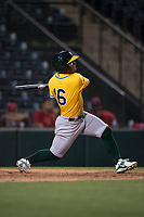 AZL Athletics third baseman Cobie Vance (16) follows through on his swing during an Arizona League game against the AZL Angels at Tempe Diablo Stadium on June 26, 2018 in Tempe, Arizona. The AZL Athletics defeated the AZL Angels 7-1. (Zachary Lucy/Four Seam Images)