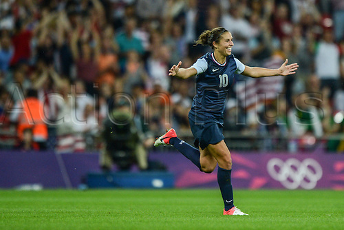 09.08.2012. London, England. Carli Lloyd of the United States celebrates scoring during the women's football gold medal match between the United States and Japan at London 2012 Olympic Games Team USA won the final game 2-1 for the gold medal, Japan took silver and Canada won the bronze by winning the third place game over Framce.