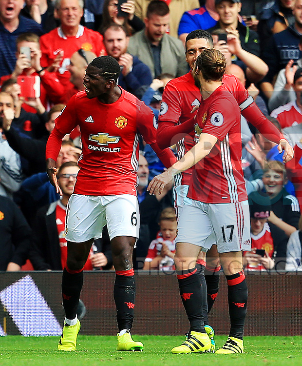 Paul Pogba of Manchester United celebrates after scoring his sides fourth goal  during the Premier League match at Old Trafford Stadium, Manchester. Picture date: September 24th, 2016. Pic Sportimage