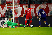 September 12th 2017, Munich, Germany, Champions League football, Bayern Munich versus Anderlecht;  Matz Sels goalkeeper, Olivier Deschacht defender and Leander Dendoncker midfielder of RSC Anderlecht dejected as they go behind  MUNCHEN,GERMANY - SEPTEMBER 12 :   Matz Sels goalkeeper of RSC Anderlecht and Joshua Klimmich of Bayern Munchen scores   during the match between Bayern Munchen and Rsc Anderlecht - UEFA  Champions League, on the Allianz Arena ,12/09/2017.