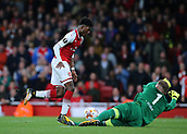 14th September 2017, Emirates Stadium, London, England; UEFA Europa League Group stage, Arsenal versus FC Cologne; Ainsley Maitland-Niles of Arsenal is denied a goal scoring chance by FC Koln Goalkeeper Timo Horn