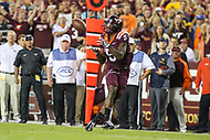 Landover, MD - September 3, 2017: Virginia Tech Hokies wide receiver Cam Phillips (5) catches a pass during game between Virginia Tech and WVA at  FedEx Field in Landover, MD.  (Photo by Elliott Brown/Media Images International)