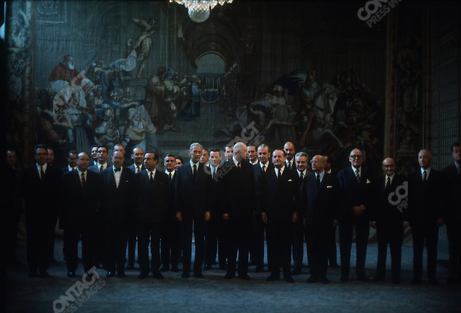 Charles de Gaulle, Cabinet meeting, Elysee Palace, Paris, France, July 13, 1968