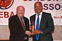 John Conteh receives the Guest of Honour trophy during the London Ex-Boxers Association Awards Lunch at the Grand Connaught Rooms on 16th February 2020