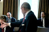Larry Kudlow Director of the United States National Economic Council speaks as Senior Advisor to the President Stephen Miller, left, and Senior Advisor to the President, Jared Kushner, right, listen during a Cabinet Meeting in the Cabinet Room of the White House on August 16, 2018 in Washington, DC.<br /> Credit: Oliver Contreras / Pool via CNP