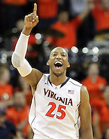 during the game against NC State Saturday in Charlottesville, VA. Virginia defeated NC State 58-55.