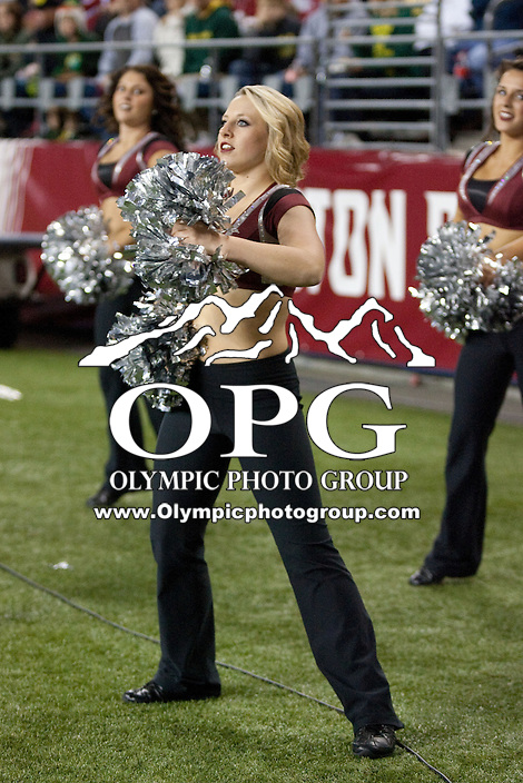 Sep  30, 2012:  Washington State cheerleader Chelsey Stout entertained the crowed during the game against Oregon.  Oregon defeated Washington State 51-26 at Century Link Stadium in Seattle, Washington...