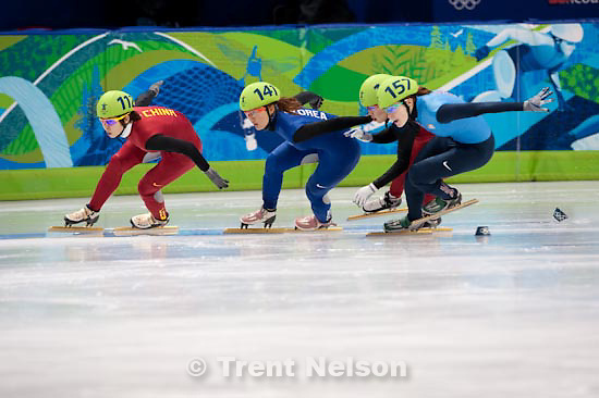Trent Nelson     The Salt Lake Tribune.Women's 1000m final, Short Track Speed Skating at the Pacific Coliseum Vancouver, XXI Olympic Winter Games, Friday, February 26, 2010. Wang Meng (China, 112, gold medal), Katherine Reutter (USA, 157, silver medal), Park Seung-Hi (Korea, 141, bronze medal), Zhou Yang (China, 114, disqualified)