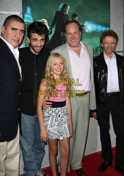 "ALFRED MOLINA, JAY BARUCHEL, PEYTON ROY LIST,  JON TURTELTAUB & JERRY BRUCKHEIMER .Creative Visions Foundation Benefit Screening Of ""The Sorcerer's Apprentice"" held at Walt Disney Studio, Burbank, CA, USA, .12th July 2010..half full 3/4 length black suit tie beige suit pink shirt jeans navy blue jacket pink black and white print dress leather .CAP/ADM/KB.©Kevan Brooks/AdMedia/Capital Pictures."