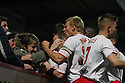 Robin Shroot of Stevenage scores and celebrates with team-mates and fans. Stevenage v Crawley Town - npower League 1 -  Lamex Stadium, Stevenage - 15th December, 2012. © Kevin Coleman 2012..