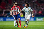 Marcelo Vieira Da Silva of Real Madrid is tackled by Jorge Resurreccion Merodio, Koke, of Atletico de Madrid during the La Liga 2017-18 match between Atletico de Madrid and Real Madrid at Wanda Metropolitano  on November 18 2017 in Madrid, Spain. Photo by Diego Gonzalez / Power Sport Images
