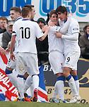 David Templeton congratulates goalscorer Fran Sandaza
