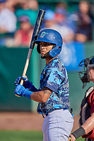 Jeremy Arocho (8) of the Ogden Raptors at bat against the Idaho Falls Chukars at Lindquist Field on August 9, 2019 in Ogden, Utah. The Raptors defeated the Chukars 8-3. (Stephen Smith/Four Seam Images)