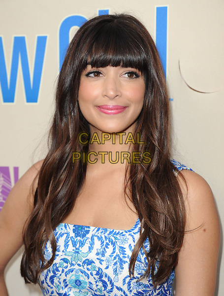 "Hannah Simone.""New Girl"" Screening and Q&A held at the Academy of Television Arts & Sciences..April 30th, 2013.headshot portrait blue white print fringe bangs hair floral print pink lipstick .CAP/RKE/DVS.©DVS/RockinExposures/Capital Pictures."