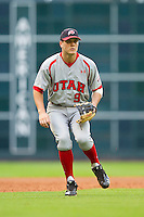 Third baseman Trey Nielsen #9 of the Utah Utes on defense against the Texas A&M Aggies at Minute Maid Park on March 4, 2011 in Houston, Texas.  Photo by Brian Westerholt / Four Seam Images