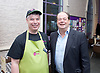 Stephen Hammond, Conservative candidate for Wimbledon and the former parliamentary under-secretary of State for Transport is on the general election campaign trail in Wimbledon today (Monday 15th May 2017). <br /> <br /> Visiting the Merton Mencap Caf&eacute;, open every Monday at Holy Trinity Church in The Broadway it offers a range of healthy home-made dishes &amp; is run by adults with a learning disability, supported by Merton Mencap staff and volunteers. <br /> <br /> Hammond who has an 11,408 majority (24.1%) met some of the workers who have learning disabilities including George Cary, Richard Dorris, Anna Caldicott and Neil Weddell. <br /> <br /> <br /> <br /> pictured L to R:<br /> Stephen Hammond ; Richard Dorris <br /> <br /> Photograph by Elliott Franks <br /> Image licensed to Elliott Franks Photography Services