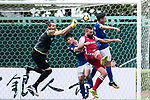 Marc Martinez of Kwoon Chung Southern (C) fights for the ball with Oleksii Shliakotin of Rangers (L) during the Premier League, week two match between Kwoon Chung Southern and BC Rangers at on September 09, 2017 in Hong Kong, China. Photo by Marcio Rodrigo Machado / Power Sport Images