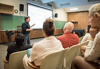 Mellon Lecture Series on Music Production's guest lecture by Christopher Sampson, Vice Dean of the Division of Contemporary Music at USC Thornton School of Music and the founding director of USC Thornton's Popular Music Program, Oct. 24, 2017 in Booth Hall room 204.<br /> In support of the new Music Production track in the Music major, the Music Department is hosting industry professionals in a series of guest lectures, each followed by a Q&A and reception.<br /> (Photo by Marc Campos, Occidental College Photographer)