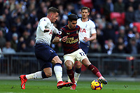Ayoze Perez of Newcastle United and Toby Alderweireld of Tottenham Hotspur during Tottenham Hotspur vs Newcastle United, Premier League Football at Wembley Stadium on 2nd February 2019