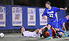 Ryan Hilke #22 of Calhoun scores the game-winning goal in the first minute of overtime to lift the Colts to a 1-0 win over Massapequa in the Nassau County varsity boys soccer Class AA final at Hofstra University on Wednesday, Nov. 2, 2016.