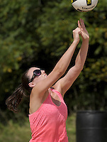 NWA Democrat-Gazette/BEN GOFF &bull; @NWABENGOFF<br /> Jenny Ditta of Fayetteville based Team Ben hits the ball on Saturday Aug. 8, 2015 during during the Ozark Volleyball Club's Volley for the Dig tournament at Memorial Park in Bentonville. The informal tournament was to raise donations for Dig 4 Diabetes.