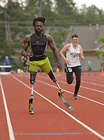 NWA Democrat-Gazette/BEN GOFF @NWABENGOFF<br /> Regas Woods, a three-time U.S. national team member from Dunnellon, Fla., runs in the 100 meter dash Thursday, April 20, 2017, during the Never Say Never Foundation's Battle of the Blades at the McDonald Relays at Fort Smith Southside. Woods is also co-founder of the Never Say Never Foundation.