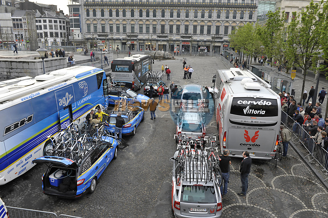 Team buses arrive at the start of the Liege-Bastogne-Liege cycle race. 26th April 2009 (Photo by Eoin Clarke/NEWSFILE)