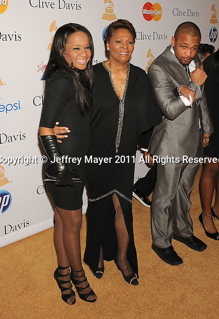 BEVERLY HILLS, CA - FEBRUARY 12: Bobbi Kristina and Dionne Warwick arrive at the 2011 Pre-GRAMMY Gala and Salute To Industry Icons Honoring David Geffen at The Beverly Hilton Hotel on February 12, 2011 in Beverly Hills, California.