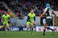 Danny Cipriani of Sale Sharks in possession. Aviva Premiership match, between Leicester Tigers and Sale Sharks on February 6, 2016 at Welford Road in Leicester, England. Photo by: Patrick Khachfe / JMP