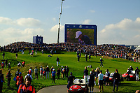 a general view of the 12th green during the friday foursomes at the Ryder Cup, Le Golf National, Ile-de-France, France. 28/09/2018.<br /> Picture Fran Caffrey / Golffile.ie<br /> <br /> All photo usage must carry mandatory copyright credit (© Golffile | Fran Caffrey)