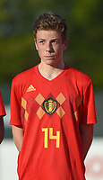 20180417 - TUBIZE , BELGIUM : Belgian Arne Engels pictured during the friendly  soccer match between  under 15 teams of  Belgium and Switzerland , in Tubize , Belgium . Tuesday 17 th April 2018 . PHOTO SPORTPIX.BE / DIRK VUYLSTEKE