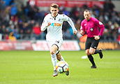 17th March 2018, Liberty Stadium, Swansea, Wales; FA Cup football, quarter-final, Swansea City versus Tottenham Hotspur; Tom Carroll of Swansea City chases after the loose ball