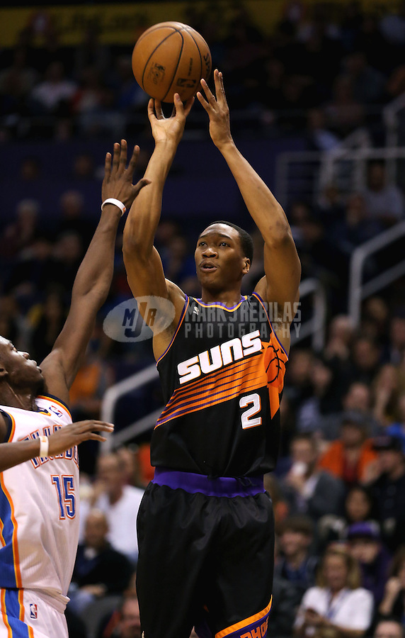 Feb. 10, 2013; Phoenix, AZ, USA: Phoenix Suns small forward Wesley Johnson against the Oklahoma City Thunder at the US Airways Center. Mandatory Credit: Mark J. Rebilas-