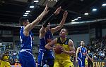 18.12.2019, EWE Arena, Oldenburg, GER, EuroCup 7Days, EWE Baskets Oldenburg vs Buducnost VOLI Podgorica, im Bild<br /> Rasid MAHALBASIC (EWE Baskets Oldenburg #24 ) Martins MEIERS (Buducnost VOLI Podgorica #33 ) Danilo NIKOLIC (Buducnost VOLI Podgorica #34 )<br /> Foto © nordphoto / Rojahn