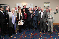 22/9/2010. Cathal O'Shannon - A Life in Television. l-r Dermot Lenihan RTE, Head of RTÉ Corporate Communications Kevin Dawson, Fionnula Flanagan, Sheamus Smith, Bernadette O Neill, Aine Murray, Tom McGurk, Cathal O'Shannon, Bill Hughes, Paul Cusack, John McColgan, Niall Tobin, Liam Kelly and Eamon De Buitlear are pictured with Tom McGurk at the Conrad Hotel Dublin for the IFTA Tribute event Cathal O'Shannon- A life in Television. Picture James Horan/Collins Photos