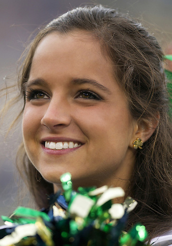 October 20, 2012:  Notre Dame cheerleader Erin Garfield during NCAA Football game action between the Notre Dame Fighting Irish and the BYU Cougars at Notre Dame Stadium in South Bend, Indiana.  Notre Dame defeated BYU 17-14.