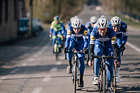The Team Quickstep Floors race take-over: hijacking it by simply riding off the front of the peloton with 7 (!) riders of the team (and 3 hangers-on holding on for dear life...)<br /> Philippe Gilbert (BEL/Quick Step floors) forcing the pace.<br /> <br /> 50th GP Samyn 2018<br /> Quaregnon &gt; Dour: 200km (BELGIUM)
