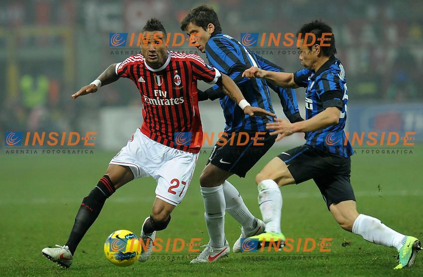 "Kevin Prince BOATENG (Milan), Ricardo ALVAREZ, Yuto NAGATOMO (Inter).Milano 15/1/2012 Stadio ""Giuseppe Meazza"".Serie A 2011/2012.Football Calcio Milan Vs Inter.Foto Insidefoto Alessandro Sabattini."