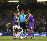 Daniel Carvajal of Real Madrid gets booked during the Champions League Final match at the Millennium Stadium, Cardiff. Picture date: June 3rd, 2017.Picture credit should read: David Klein/Sportimage