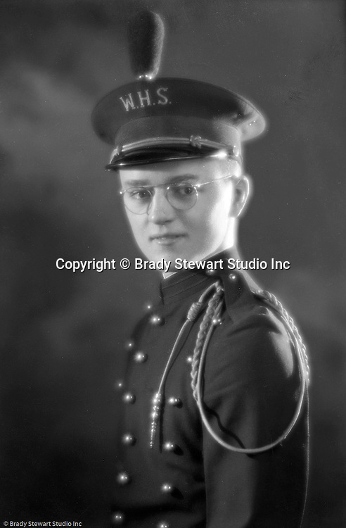Wilkinsburg PA:  Portrait of Brady Stewart Jr. in his Wilkinsburg High School band uniform - 1937.