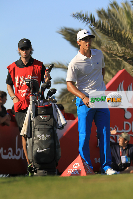 Thorbjorn Olesen (DEN) prepares to tee off the 14th tee during Saturday's Round 3 of the Abu Dhabi HSBC Golf Championship at Abu Dhabi Golf Club, 19th January 2013 .Photo Eoin Clarke/www.golffile.ie
