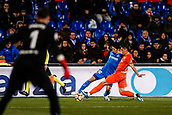 12th January 2018, Estadio Coliseum Alfonso Perez, Getafe, Spain; La Liga football, Getafe versus Malaga; Gaku Shibasaki (Getafe CF) pulls the ball back inside under pressure