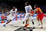 Spain´s Pau Gasol and Rudy Fernandez (R) and France´s Diaw during FIBA Basketball World Cup Spain 2014 match between Spain and France at `Palacio de los deportes´ stadium in Madrid, Spain. September 10, 2014. (Victor Blanco)